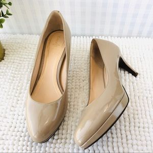 Cole Haan pumps round toe low heel platform tan